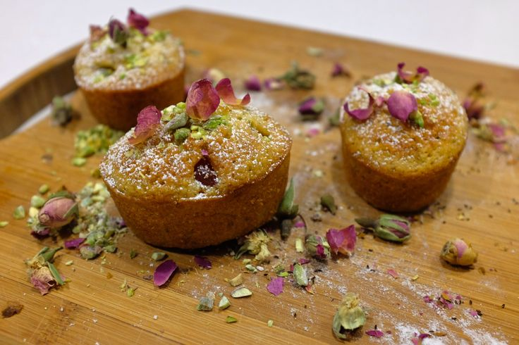 Pistachio and turkish delight friands. Find the recipe at http://anniesbakehouse.com/2014/11/10/pistachio-and-turkish-delight-friands/