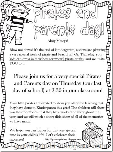Have to remember this for the end of the year... Pirates and Parents Last Day of School Celebration