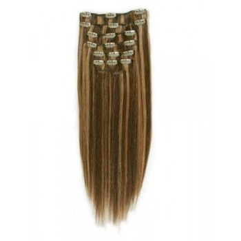 18 inches Brown/Blonde(#4/27) 7 pieces Clip In Synthetic Hair Extension