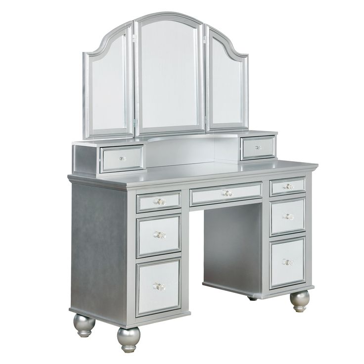 Furniture of America Nena Contemporary 2-piece Mirrored Multi-drawer Vanity Table Set | Overstock.com Shopping - The Best Deals on Bedroom Accents