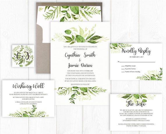 Awesome Spring Wedding Invitation Suite Printable Greenery Wedding Invite Set Leaf Wedding  Invitation Botanical Wedding Invitation Garden
