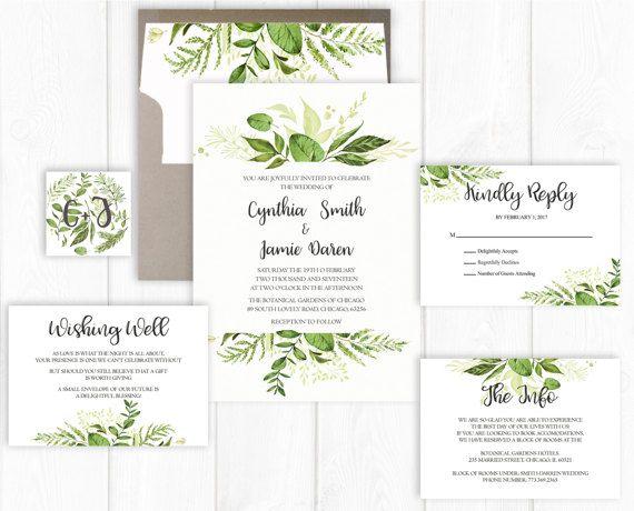 Spring Wedding Invitation Suite Printable Greenery Wedding Invite Set Leaf Wedding Invitation Botanical Wedding Invitation Garden Printed