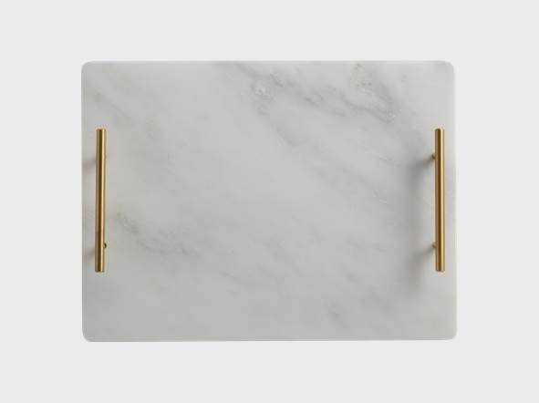 Marble Tray 40x30cm Gold Handle