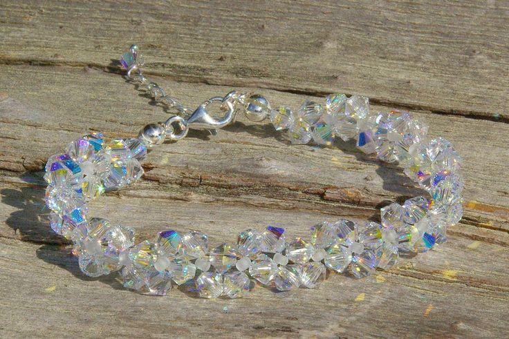 Swarovski AB Bracelet Bridal Crystal Bracelet Swarovski Crystal AB Bracelet Wedding Bracelet Bridesmaid Jewelry Gift fo Her Wedding Crystal by AuroraCrystalPassion on Etsy
