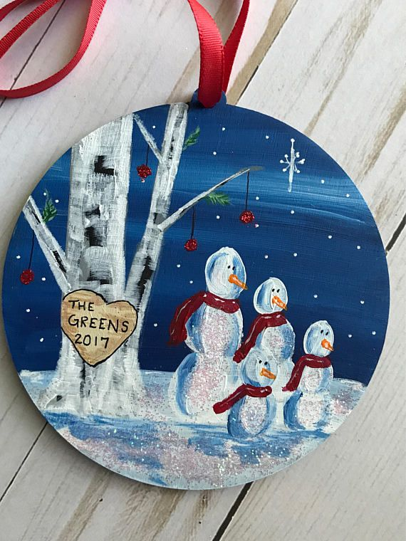 These hand painted personalized family ornaments are adorable! You customize for your family or as the perfect gift for any family. This is the perfect affordable gift idea and is great one of a kind keepsake. *SIZE: 4.5 inches in diameter *MATERIALS: Balsa wood, ribbon, acrylic