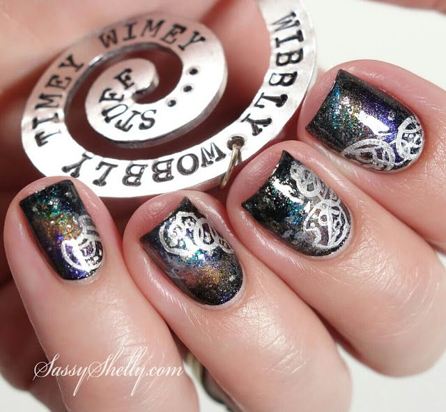 Doctor Who 50th Anniversary! ~ Gallifreyan Galaxy Nails