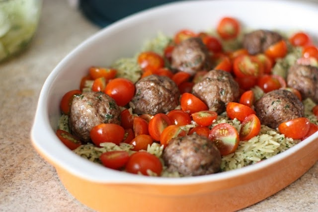 Thai basil pesto orzo with meatballs (would be really good if ...