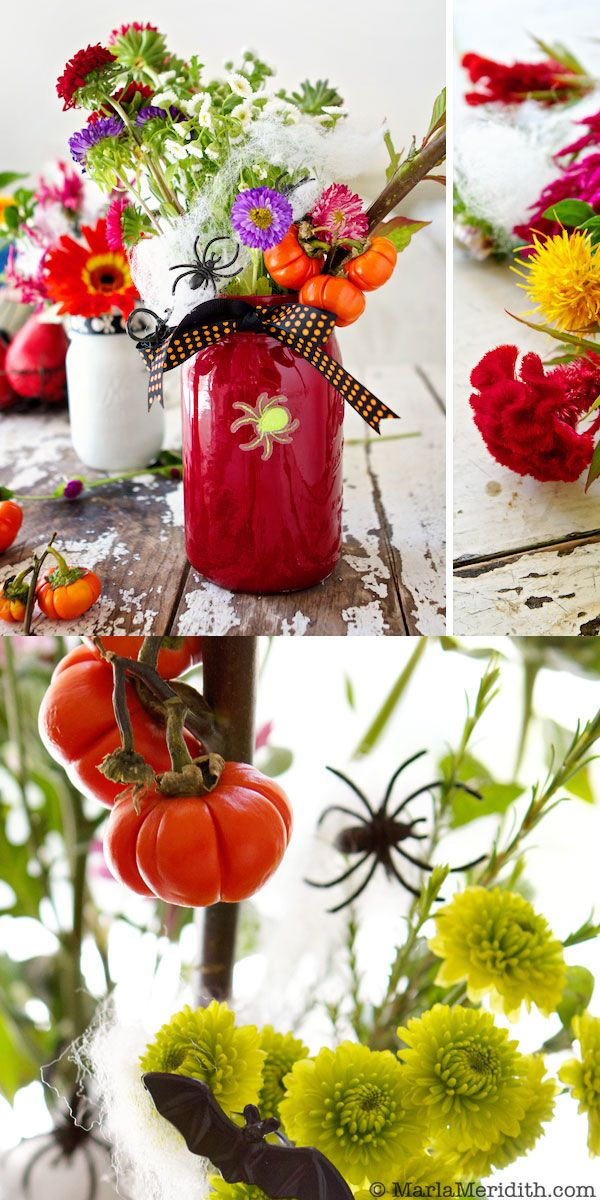 How to: Painted Mason Jar Halloween Flowers   MarlaMeridith.com