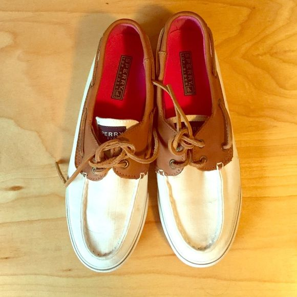 Brown and white Sperry's Only wore these once. Some dust but no scuff marks at all. Sperry Top-Sider Shoes Flats & Loafers