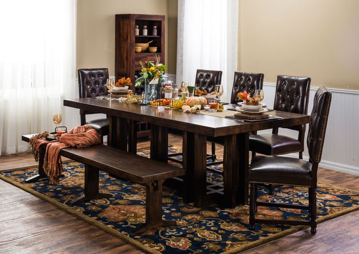 Constructed of FSC certified solid reclaimed pine the Vincente dining table blends