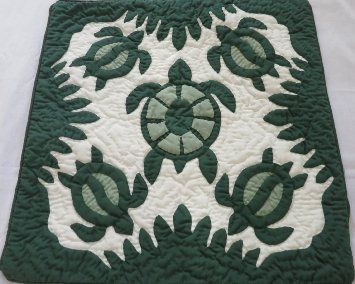 2 Hawaiian quilt throw pillow cover 16x16 100% hand quilted/100% hand appliqued
