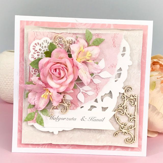 Lovely wedding card with paper flowers lots of layers and Scrapiniec chipboards. Papers Lemoncraft. cardmaking, scrapbooking