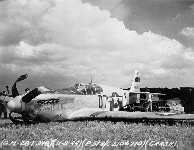 """https://flic.kr/p/53BRj7   P-51B """"Janie Girl"""", photo #2   Lt. Earl Erickson's P-51B-10-NA s/n 42-106614, """"Janie Girl"""" (D7-Y) of the 503rd FS, 339th FG after a wheels up landing due to engine failure while being flown by Capt. Donald McClish. MACR 8697  Photo from <a href=""""http://www.littlefriends.co.uk"""" rel=""""nofollow"""">www.littlefriends.co.uk</a>"""