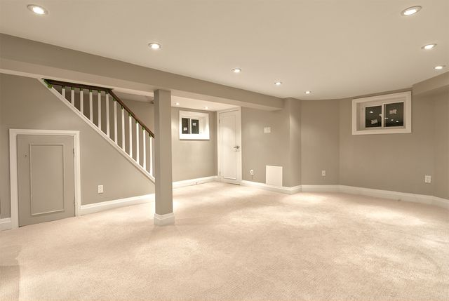 basement renovations need lots of lighting, and lighter color choices brighten the rooms