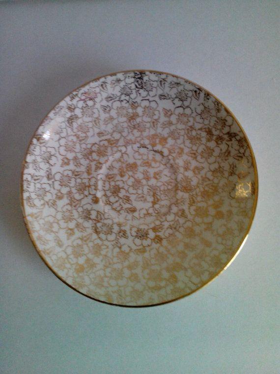 Vintage Eggshell Nautilus Floral Gold Trim Saucer