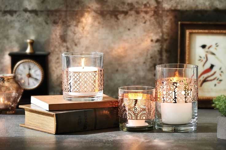 Bed Bath N Table Rose Gold Cutout Candle Holders