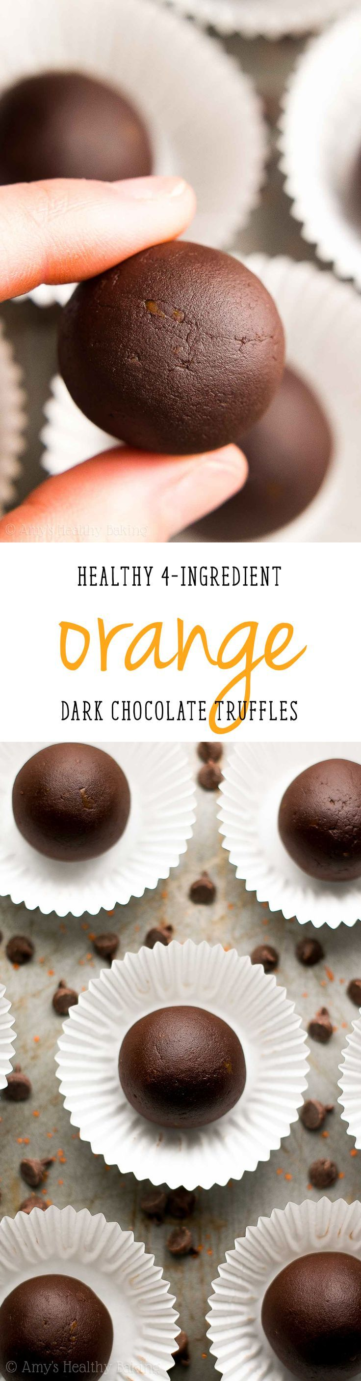 Healthy Dark Chocolate Orange Truffles -- only 4 ingredients & 21 calories! This easy recipe tastes so fancy, even with NO heavy cream or sugar!