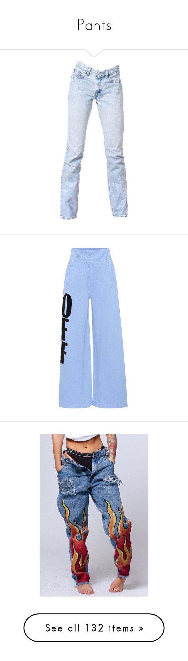 """Pants"" by avagosha ❤ liked on Polyvore featuring pants, bottoms, trousers, blue, off white trousers, blue pants, cotton jersey, blue trousers, off white pants and jeans"