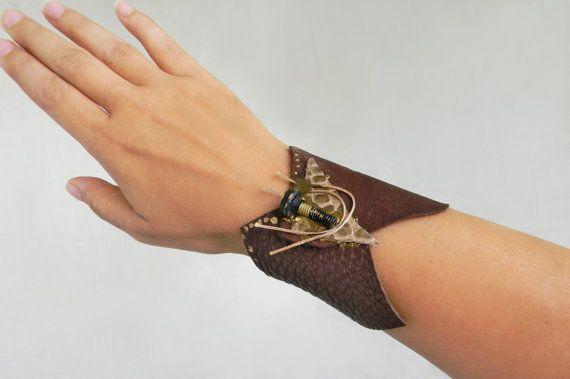 Steampunk leather wrist cuff Brown leather wide bracelet