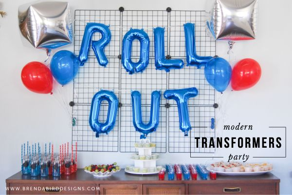 Modern Transformers Birthday Party for Kids. Industrial-ish yet childish backdrop could be easy to recreate.