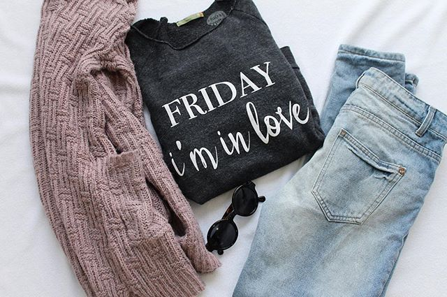 Friday I'm In Love Statement sweater, graphic Tee, the cure, the cure shirt, music lyrics, outfit flatlays, flatlay, sunglasses, urban outfitters, American eagle, target style