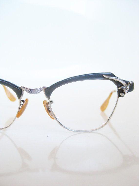 Cat Eye Eyeglasses Vintage 1950s Glasses Dark Dusty Blue Bausch Lomb Rockabilly Chic Indie Hipster 50s Sunglasses Mid Century Modern