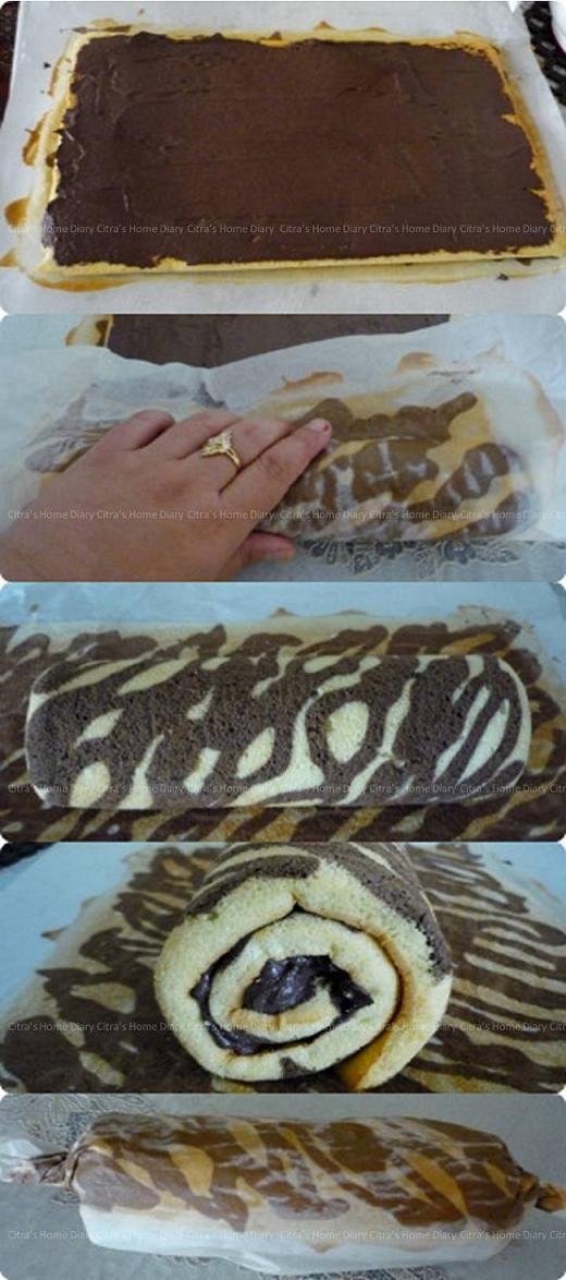 Citra's Home Diary: Zebra Swiss Roll Cake (cooked dough method) / Bolu gulung…