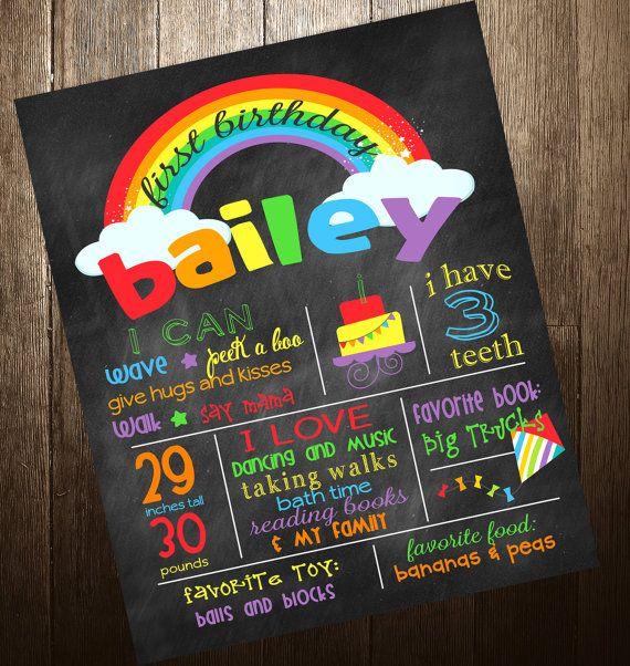 Rainbow Theme First Birthday Chalkboard Poster Sign Printable - DIgital File JPG - Baby's First Birthday on Etsy, $19.00