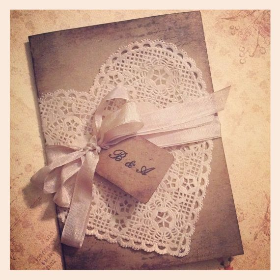 Sample - Vintage aged heart shaped doily invitation - wedding invitation