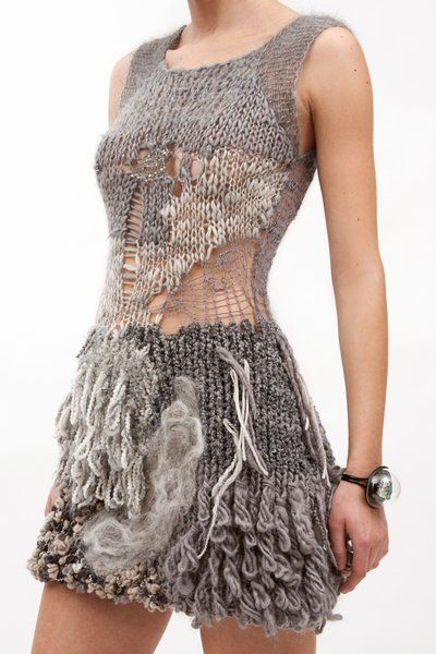 Mixed fiber crochet dress with loose knits & mixed texture detail - distressed knitwear design inspiration; textiles for fashion