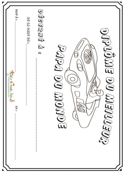 Diplome Pour Papa Fan De Voiture Sur Tete A Modeler Dessin Pour
