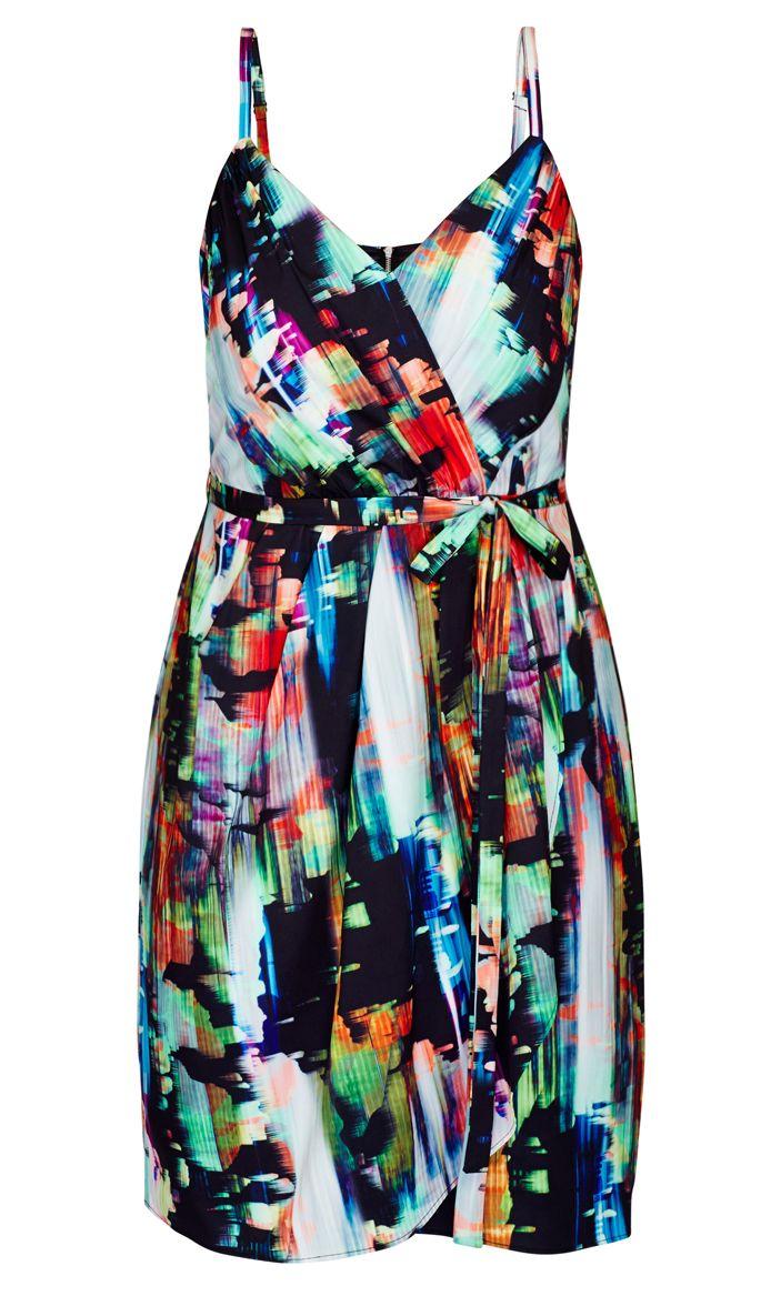 City Chic - SMUDGE WRAP SKIRT DRESS - Women's Plus Size Fashion