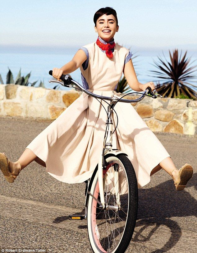 Rising star: The beautiful 22-year-old recreates Hepburn's famous Roman Holiday scene in the gorgeous photoshoot