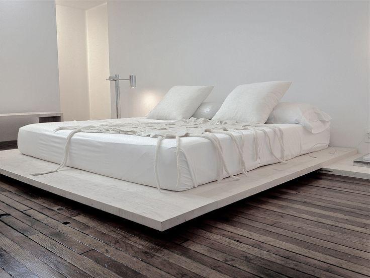 Lukas Machnik Interior Design: Bedroom - floating platform bed (bleached unfinished oak) Designed by Lukas Machnik. Felted wool blanket by Lonney White. Interior Architecture and Design by Lukas Machnik