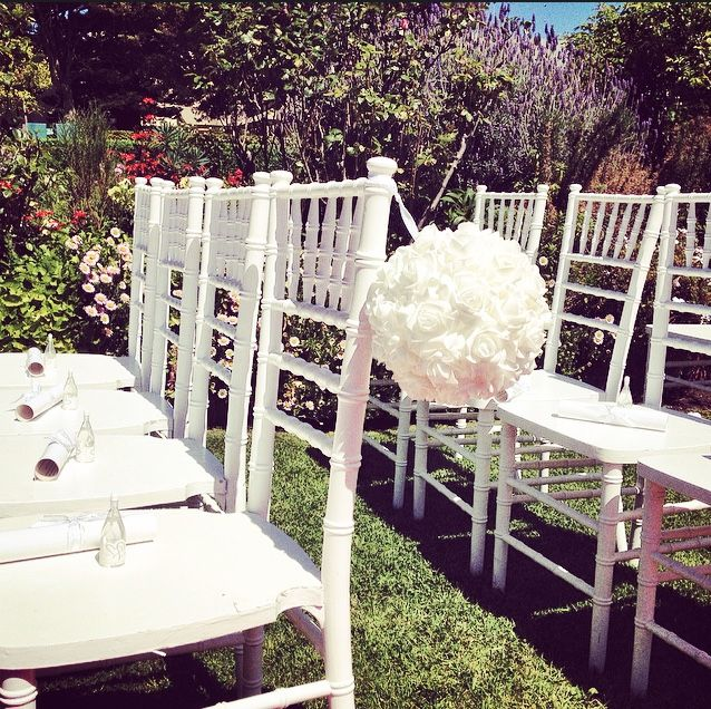 Tiffany chairs in the Sunken Garden - Perfect Spring Wedding! Decorated by Event Perfection https://www.facebook.com/EventPerfection
