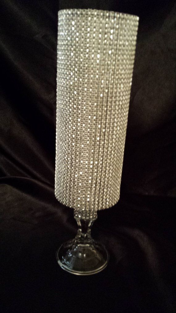 Centerpiece Cylinder Vase Lot Silver Bling Rhinestone Diamond Crystal Elegant Wedding Party Vases on Etsy, $120.00