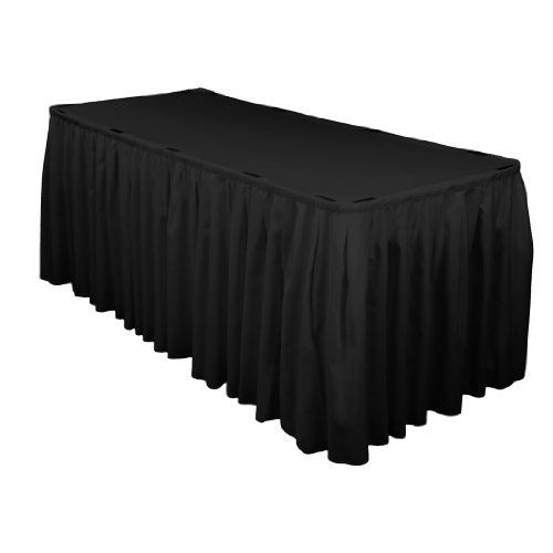 17 ft. Accordion Pleat Polyester Table Skirt Black by LinenTablecloth. $24.99. Skirt clips and table covers sold separately. 17 linear feet of skirting. Seamless, one-piece design. 100% Polyester (Dacron). Stain & wrinkle resistant, machine washable. Afford your formal event an aura of warmth and vibrant color with our beautiful, professional-weight table skirts. These durable, machine-washable tablecloths are made of a heavier fabric than most other tablecloths on th...