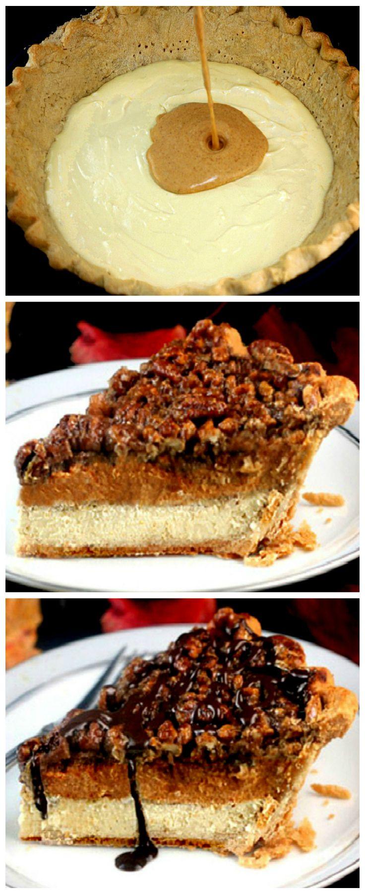 Cheesecake Pumpkin Pecan Pie aka Chumpcan Pie! -Three Pies in One! A Cheesecake layer, a pumpkin pie layer and a pecan pie layer! The ultimate Thanksgiving/Holiday pie!