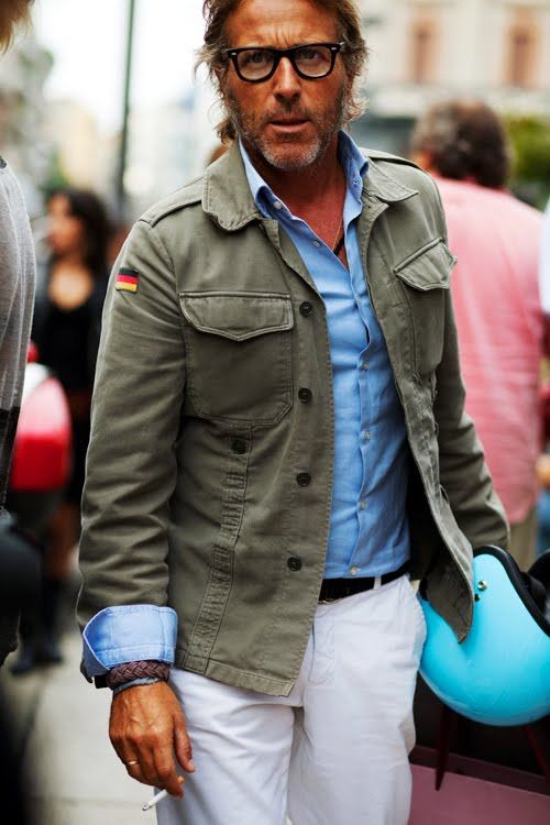 Classic spring/summer look: cream linen pants, light blue shirt and a military style green jacket