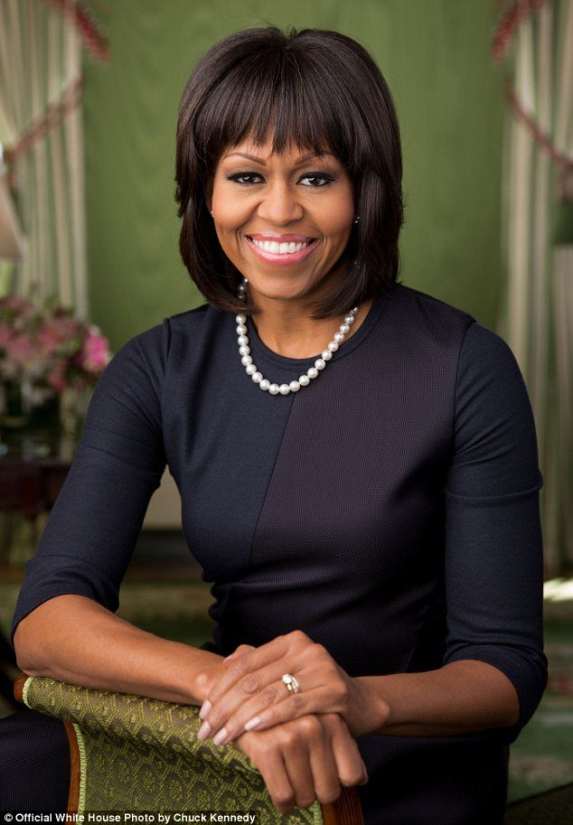 Update: Michelle Obama's new official portrait was shot on February 12th by White House photographer Chuck Kennedy in the Green Room of the White House
