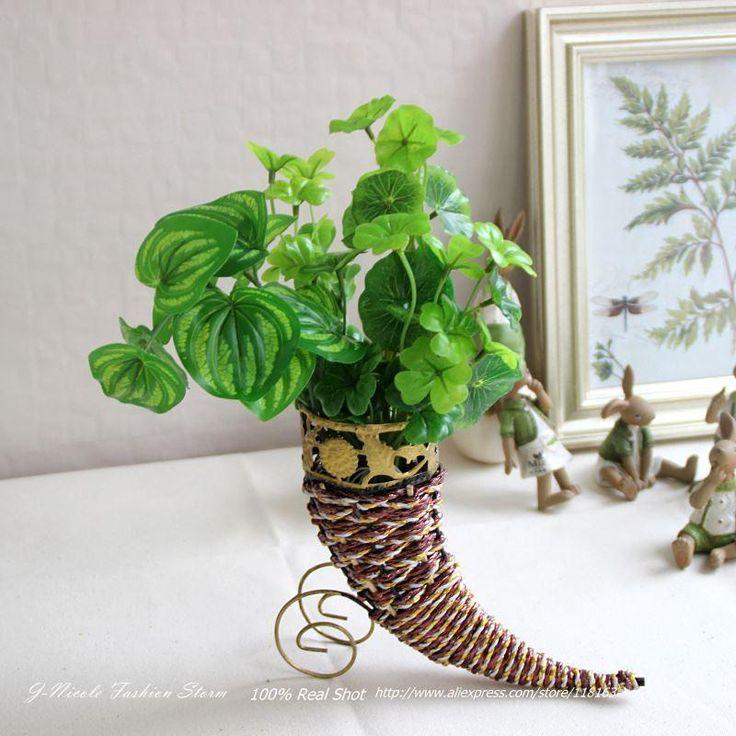 Corniform Cord Maglia Lavoro Manuale Rattan Fiori Artificiali Vase Mini Home Storage Basket Decorativa Senza Fiori