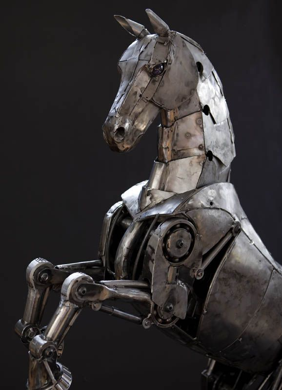 Steampunk Sculpture Horse Close by Andrew Chase Steampunk sculptures of photographer Andrew Chase