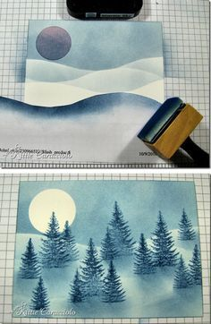 By Kittie Caracciolo. Sponging a winter snow scene. Picture tutorial on her website.