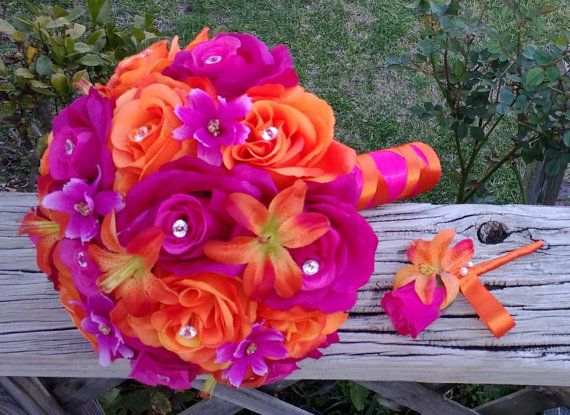 Hot Pink Orange Bouquet Pink Orange Bouquet by SilkFlowersByJean, $90.00 with matching Boutonniere