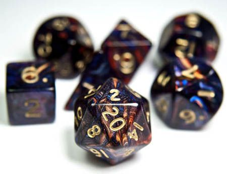 RPG Dice Set (Spectrum Blue Red) role playing game dice + bag. WANT WANT WANT.