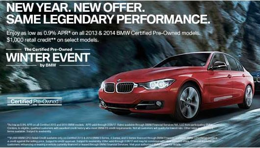 Hurry in for a test drive and take advantage of APRs as low as 0.9% on all 2013 & 2014 BMW Certified Pre-Owned models* plus a $1,000 Retail Credit on select models.**http://bit.ly/2l1yiSm