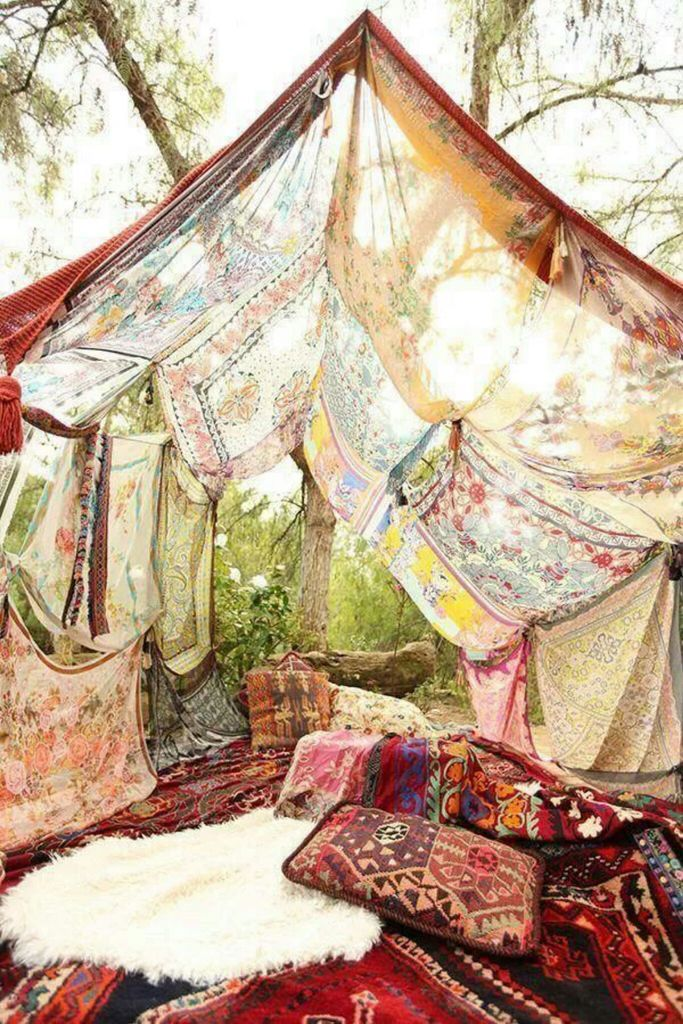 You could totally do this hippie hideaway at home in the backyard...