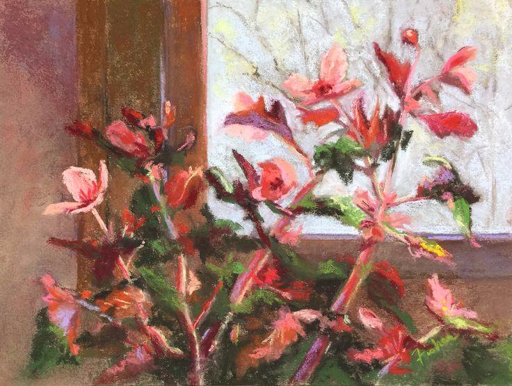 Window Begonia by Susan T Fisher Pastel ~ 9 x 12