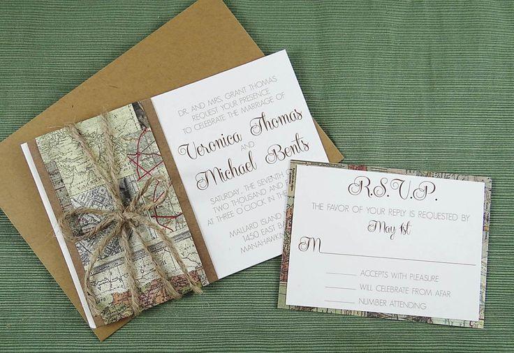 Travel Map Wedding Invitation - Travel theme wedding - Map and Kraft Invitation by CordiallyInvitedShop on Etsy https://www.etsy.com/listing/218135286/travel-map-wedding-invitation-travel
