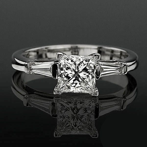 diamond solitaire with baguette side image | ... Princess Diamond Setting with 2 Baguette Side Diamonds  bbrnw2142 MostUniqueWeddingRings